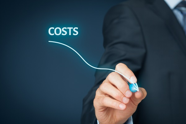 A graphical representation of costs by a man